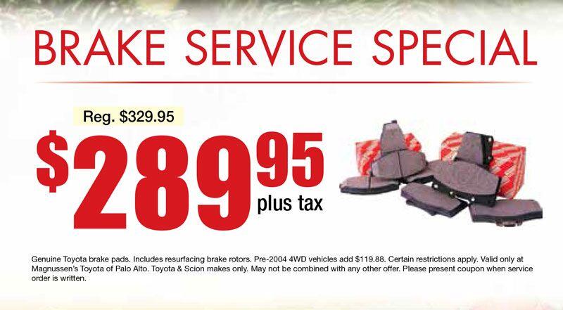 Toyota Brake Service Coupon - Mountain View Toyota Repair Service