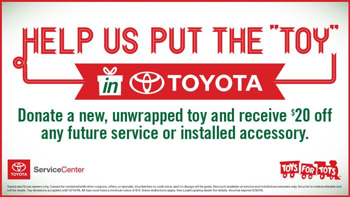 Donate anew toy and receive $20 off any future service or installed accessory.