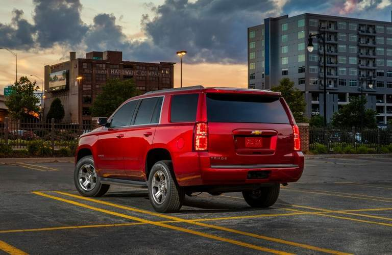 Rear view of 2018 Chevy Tahoe in red