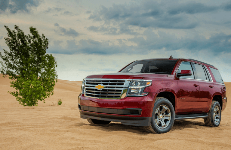 Front view of 2018 Chevy Tahoe in red