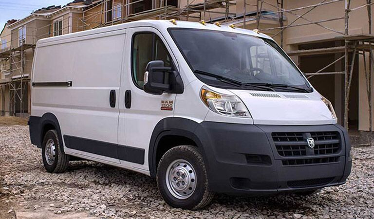2018 Ram ProMaster sitting on a cobble street