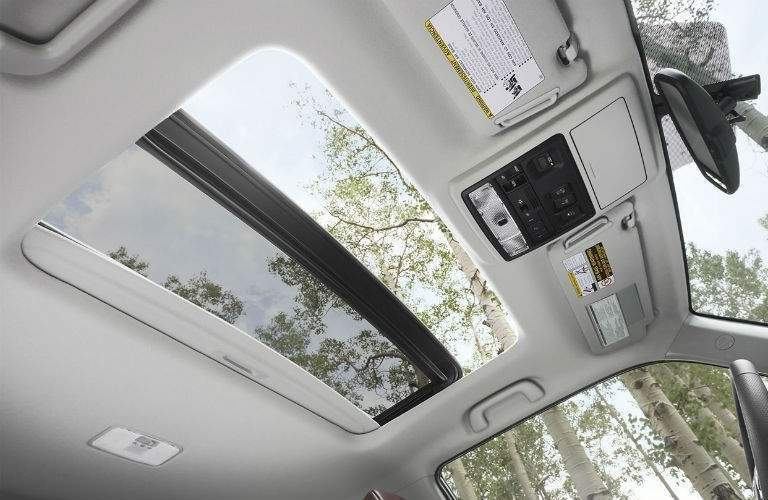 Sun shining through Panoramic Moonroof of 2018 Toyota 4Runner in wooded area