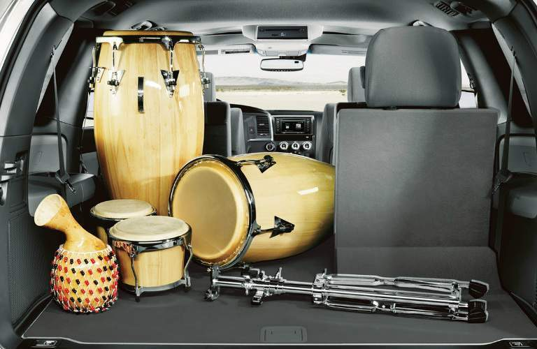 Wooden Hand Drums in the Cargo Area of a 2018 Toyota Sequoia