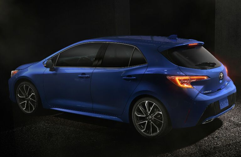 Rear View of Blue 2019 Toyota Corolla Hatchback