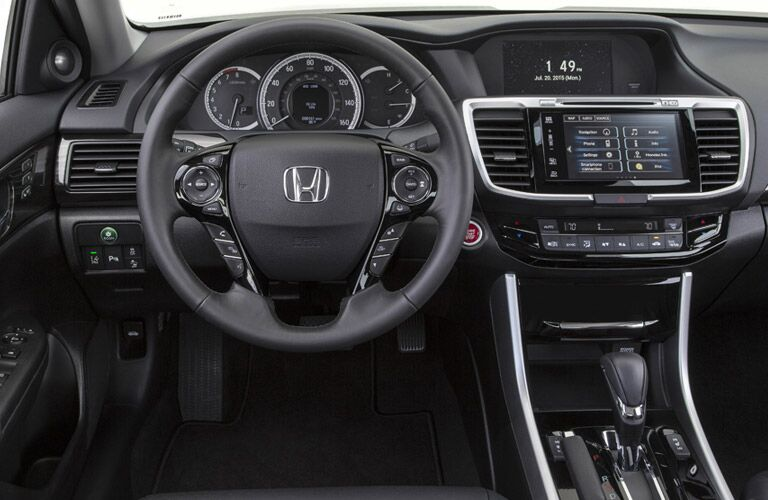 2017 Honda Accord interior with steering wheel and entertainment display