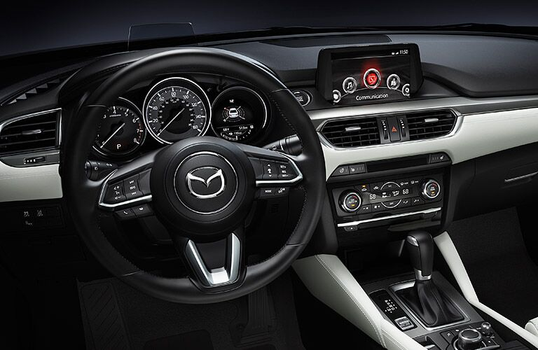 2017 Mazda6 Interior View of Steering Wheel in Black