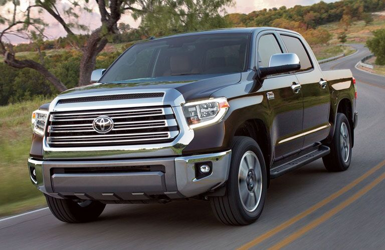 Toyota Tundra driving on a winding country road