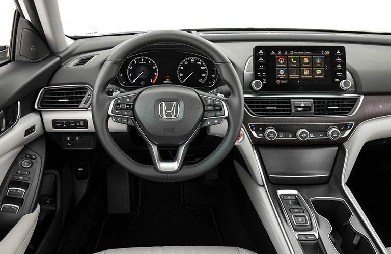 view from driver's seat inside the 2018 Honda Accord, looking at the steering wheel and controls