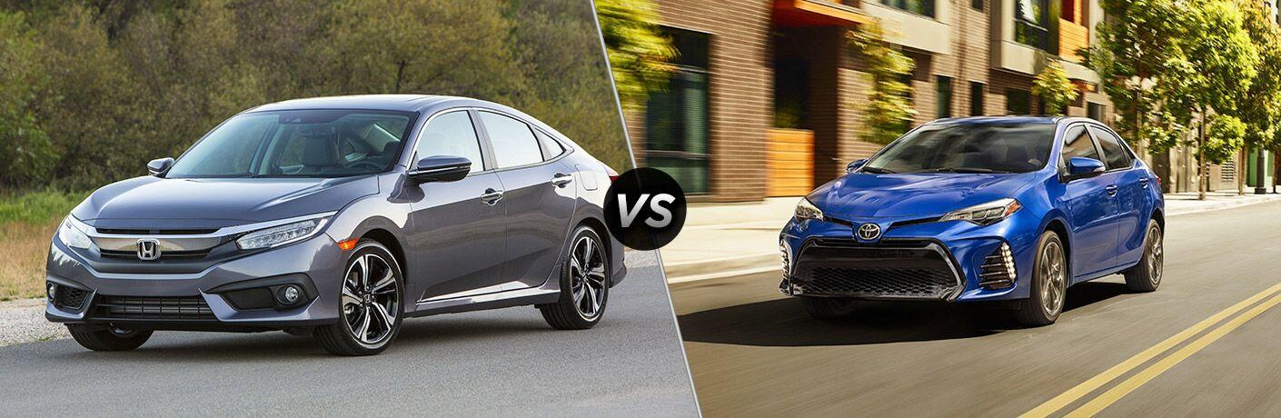 comparison of the 2018 Honda Civic vs 2018 Toyota Corolla