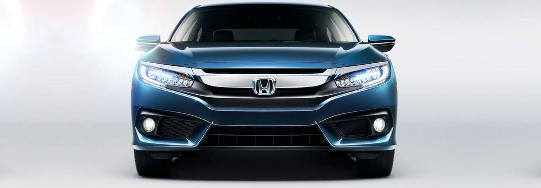 exterior front fascia of the 2018 Honda Civic Sedan in blue