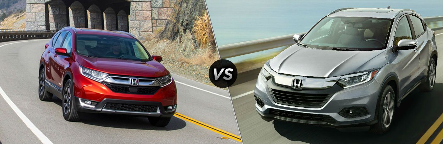 "Red 2019 Honda CR-V and silver 2019 Honda HR-V, separated by a diagonal line and a ""VS"" icon."