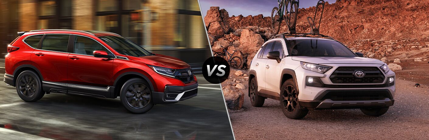"Red 2020 Honda CR-V and white 2020 Toyota RAV4, separated by a diagonal line and a ""VS"" logo."