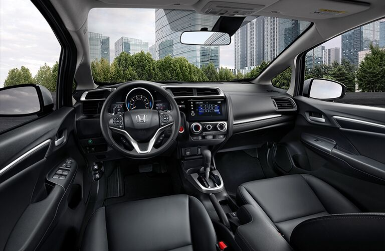 Interior front driver and passenger area in a 2020 Honda Fit.