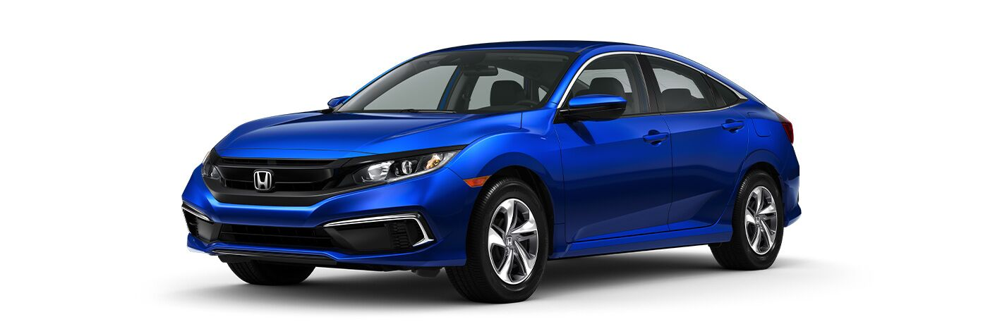Blue 2020 Honda Civic Sedan exterior front/side view