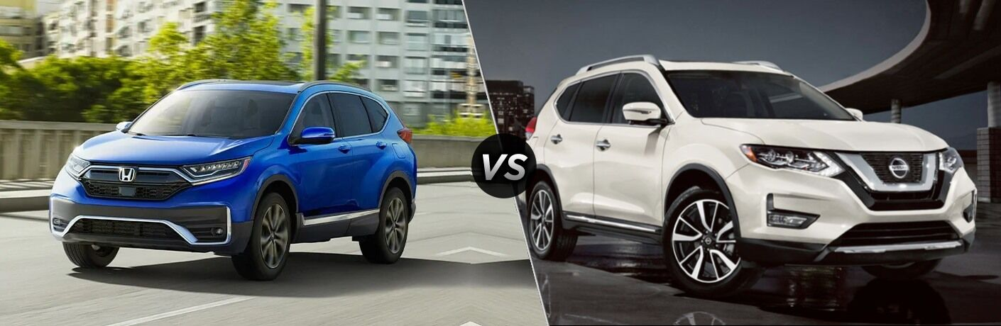 """Blue 2020 Honda CR-V and white 2020 Nissan Rogue, separated by a diagonal line and a """"VS"""" logo."""