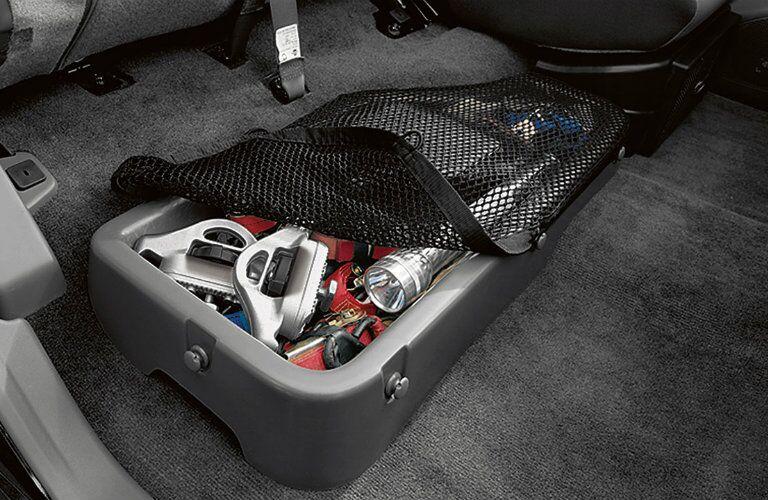 Nissan Frontier rear under-seat cargo bin