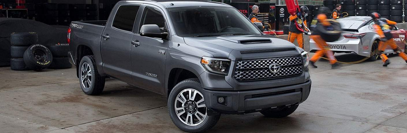 A front right quarter view of a grey 2018 Toyota Tundra