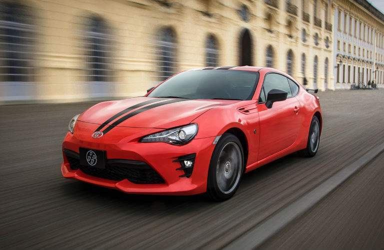 The tell-tale racing stripes identify the Toyota 86 860 special edition