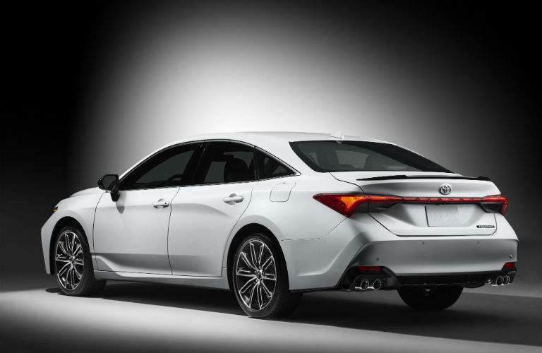 A rear left quarter view of a 2019 Toyota Avalon