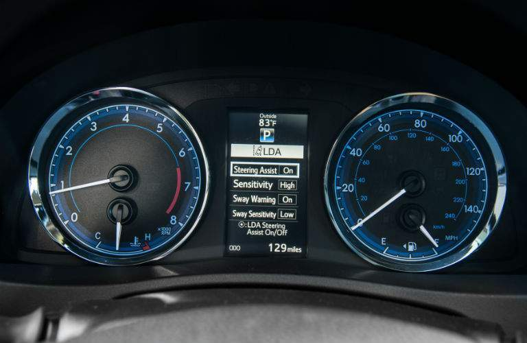 A close up photo of the center gauge cluster in the 2018 Toyota Corolla showing the multi-information display
