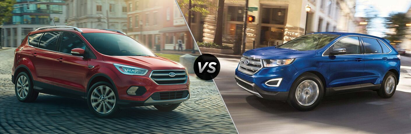 2018 Ford Escape driving on a brick road in a city vs 2018 Ford Edge driving through an intersection