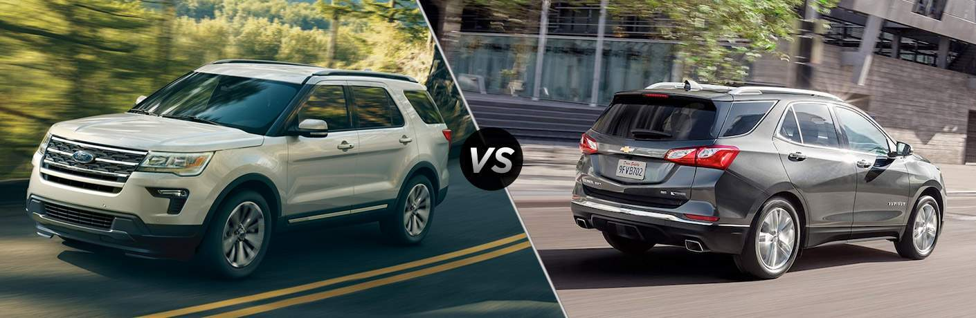 A side-by-side comparison of the 2018 Ford Explorer vs. 2018 Chevy Equinox
