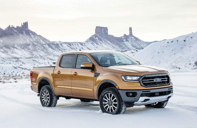 A front right quarter view of the 2019 Ford Ranger in the snow