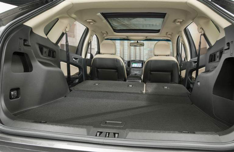 A view looking into the back of a 2018 Ford Edge showing how much cargo space is available