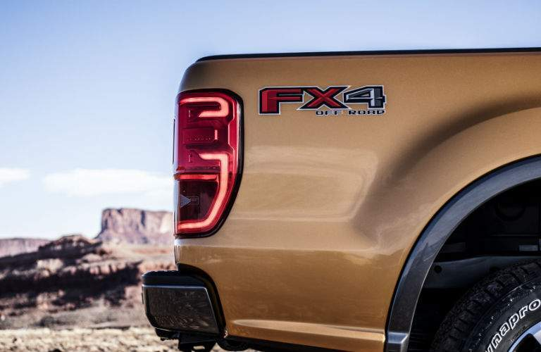 A close up photo of the FX4 graphics on the newest trim of the 2019 Ford Ranger