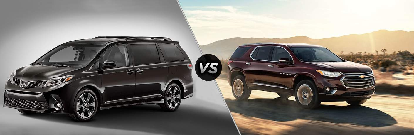 A side-by-side comparison of the 2018 Toyota Sienna vs. 2018 Chevy Traverse