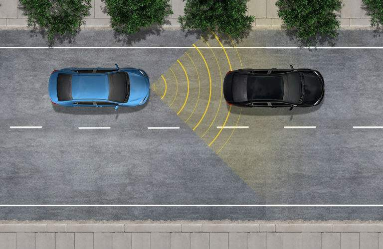 A photo illustration giving a graphic demonstration of a portion of the Toyota Safety Sense suite