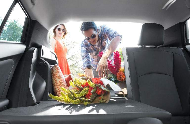 A view looking out of the back of the 2018 Toyota Prius showing how much cargo and passenger space is available