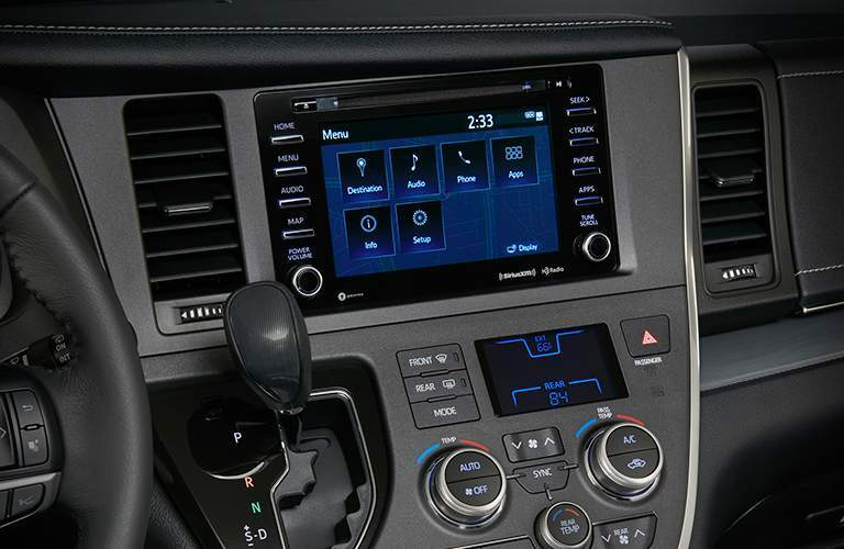 A closer view of the touchscreen interface found inside of the 2018 Toyota Sienna