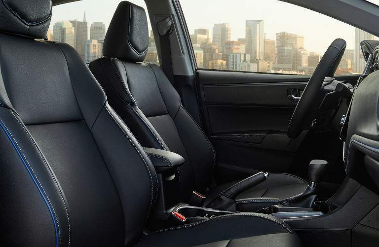 Simulated leather upholstery covers the comfortable seats of the 2018 Corolla XSE
