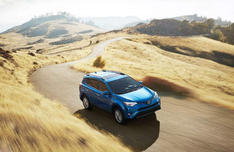 A top down view of the 2018 Toyota RAV4 driving on a winding road