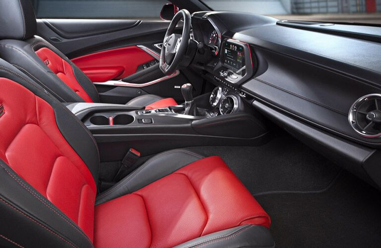 2016 Chevy Camaro two-tone red leather seats