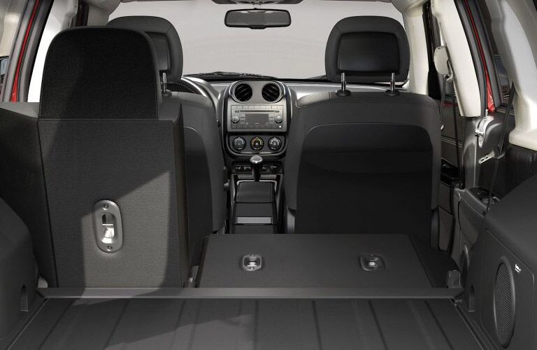 rear seats folded down in the 2017 jeep patriot