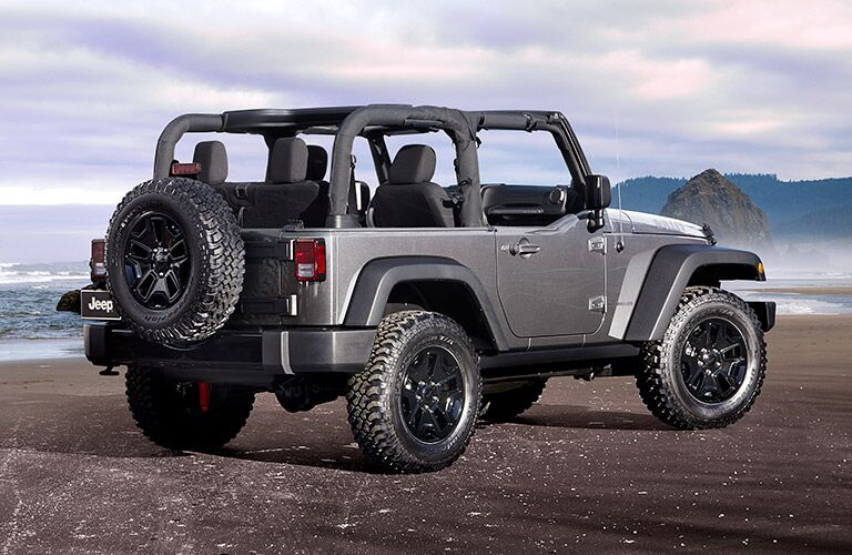 2017 Jeep Wrangler with the top down