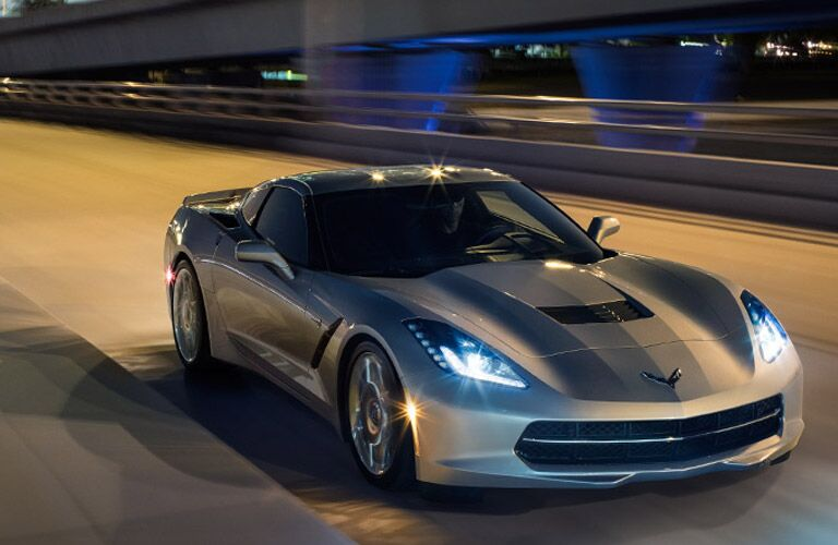 2017 corvette stingray on highway at night