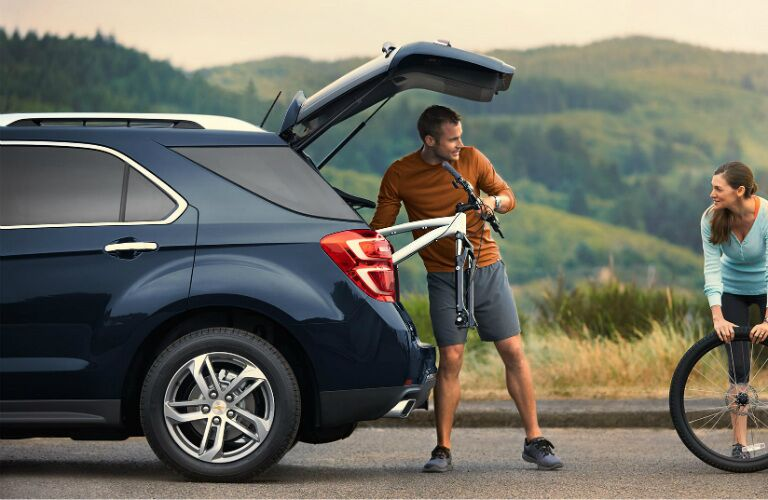 loading bicycle parts into the chevy equinox