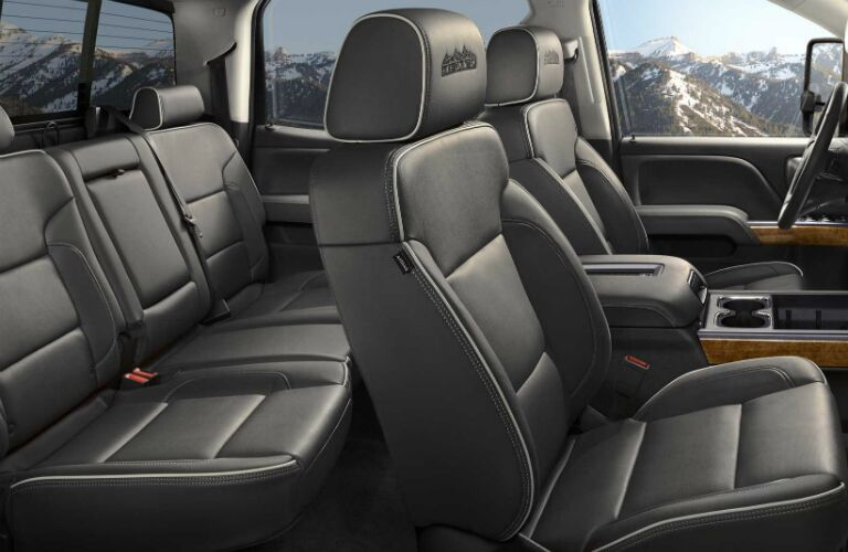 2017 Chevy Silverado 3500HD with black leather seats