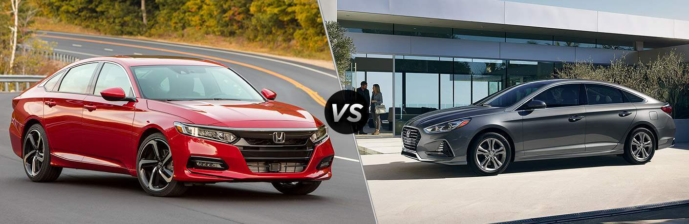 "Front exterior view of a red 2018 Honda Accord on the left ""vs"" side exterior view of a gray 2018 Hyundai Sonata on the right"