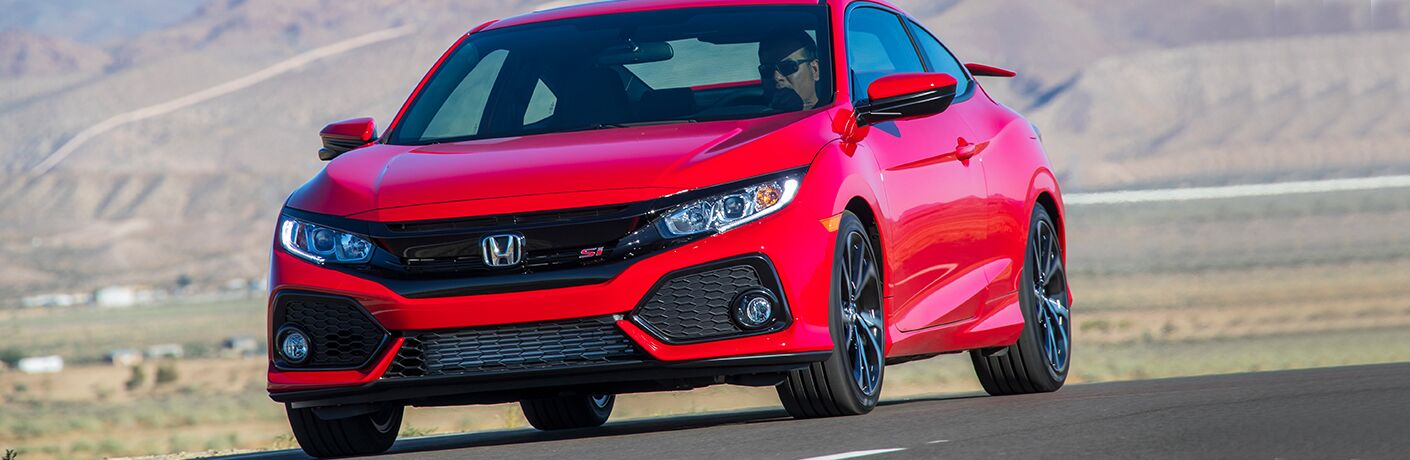 font view of a red 2018 Honda Civic Si