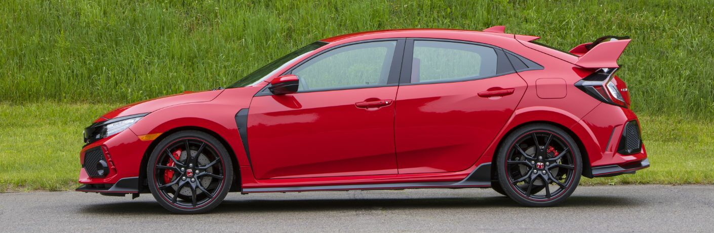 side view of a red 2018 Honda Civic Type R