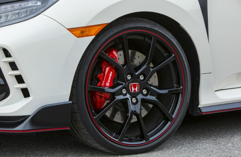 front wheel on a white 2018 Honda Civic Type R