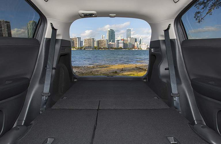 Looking out the rear cargo area with seats folded flat of the 2018 Honda HR-V
