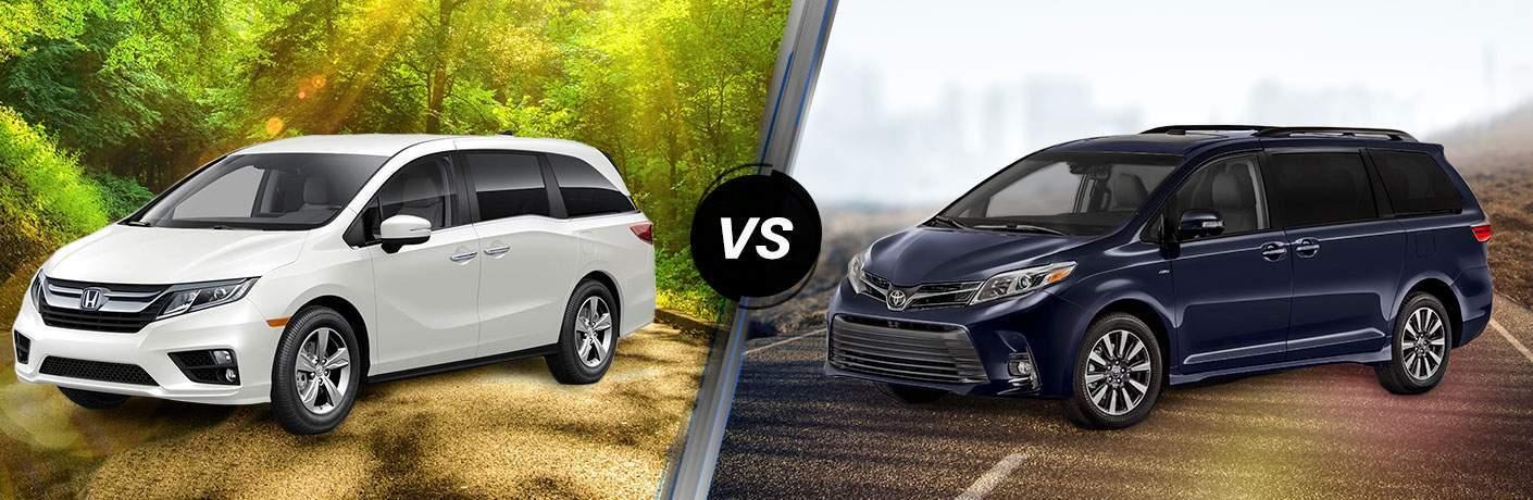 """2018 White Honda Odyssey on left """"vs"""" 2018 Toyota Sienna on right"""