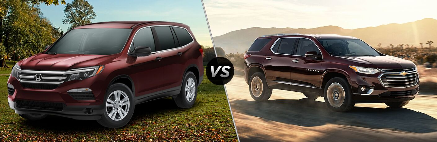 2018 Honda Pilot exterior front fascia and drivers side parked on grass vs 2018 Chevy Traverse exterior front fascia and passenger side going fast on road