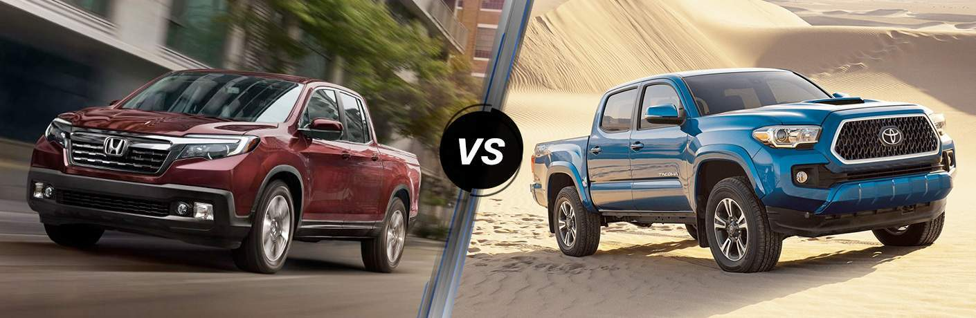 "Front exterior view of a red 2018 Honda Ridgeline on the left ""vs"" a passenger side exterior view of a blue 2018 Toyota Tacoma on the right"