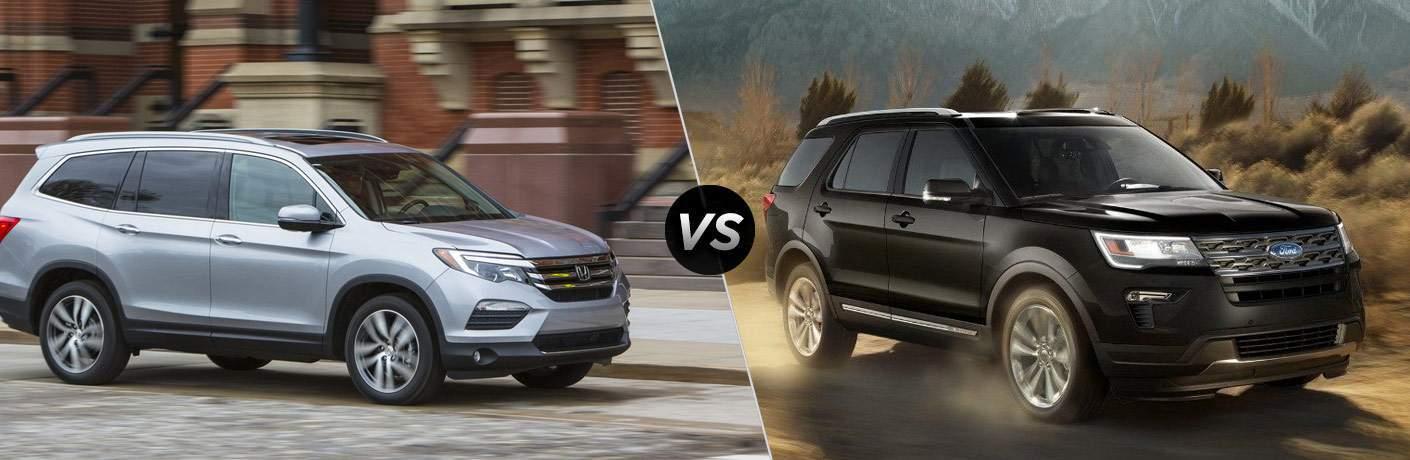 """Gray 2018 Honda Pilot on left """"vs"""" 2018 Ford Explorer on right"""